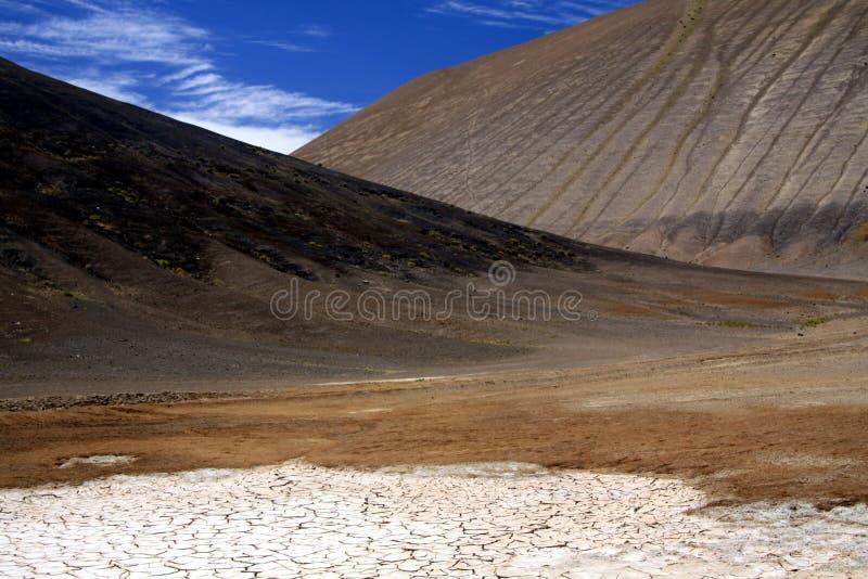 Взгляд над сухим солью плоским на обнаженных черных и коричневых холмах сравнивая с темносиним небом в нигде пустыни Atacama, Чил стоковое изображение rf
