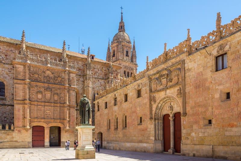 Взгляд на дворе университета в Саламанке - Испании стоковое изображение rf