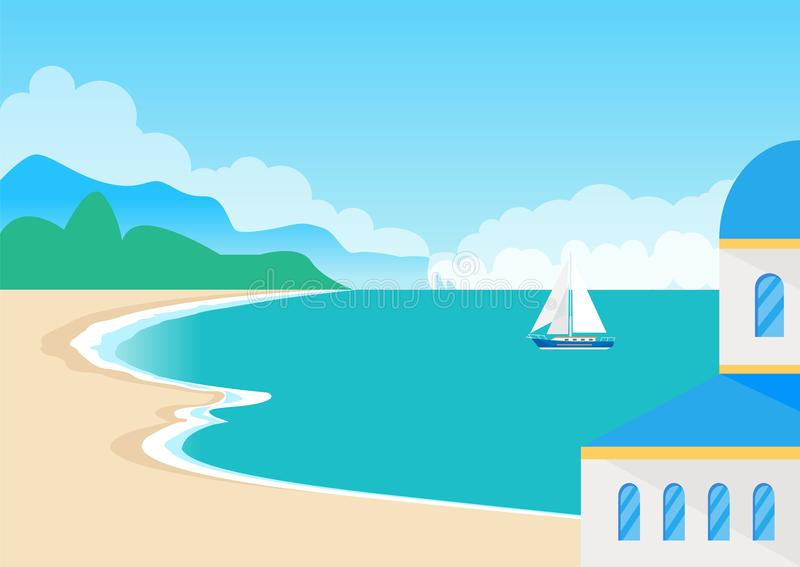 Взгляд на красивом песчаном пляже и милом Seascape иллюстрация штока