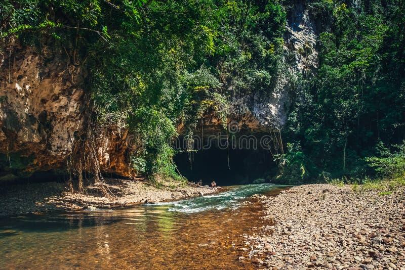 Взгляд на реке пропуская внутри к большой пещере утеса стоковое изображение