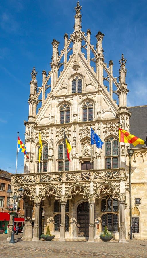 Взгляд на фасаде здание муниципалитета в Mechelen - Бельгии стоковое фото
