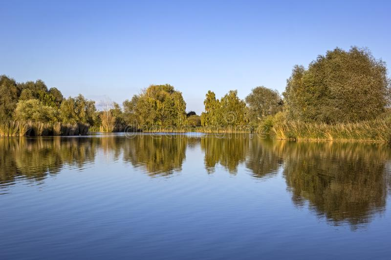 Взгляд небольшого озера на windless вечере стоковое изображение