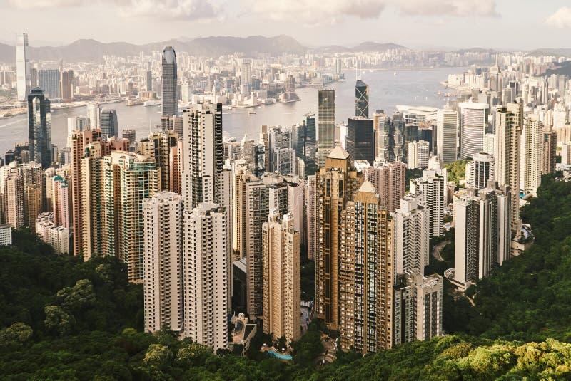 Взгляд небоскребов от пика Виктории, Гонконга стоковые изображения