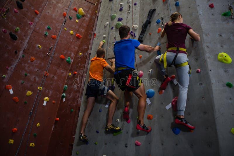 Взгляд низкого угла спортсменов и стены тренера взбираясь в спортзале стоковая фотография