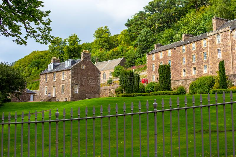 Взгляд нового места наследия Lanark, Lanarkshire в Шотландии, Великобритании стоковое фото rf