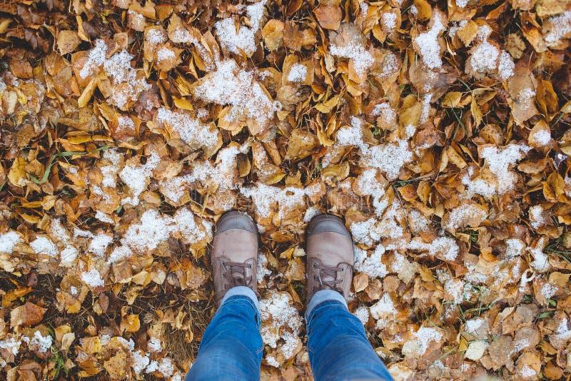 Взгляд ног кожаных ботинок на снеге с упаденными листьями на сезоне зимы падения осени стоковая фотография