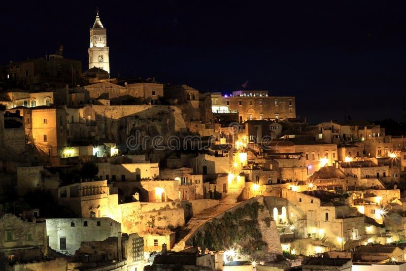 Взгляд ночи †Matera, Италии « стоковое фото rf