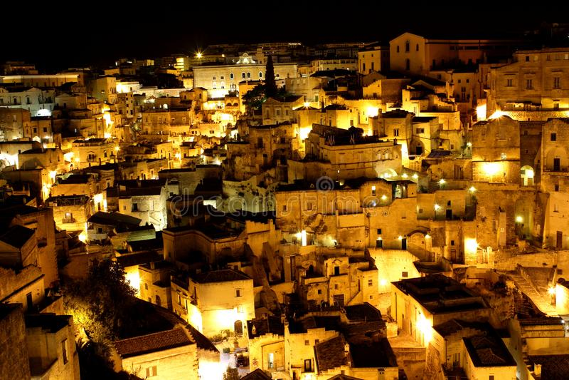 Взгляд ночи †Matera, Италии « стоковые изображения rf