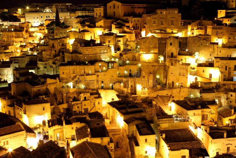 Взгляд ночи †Matera, Италии « стоковые изображения