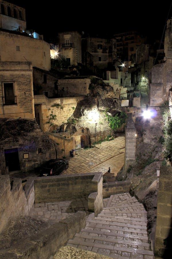 Взгляд ночи †Matera, Италии « стоковое фото