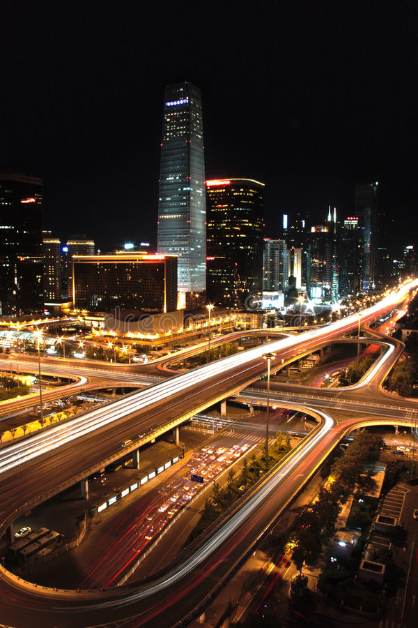 Взгляд ночи в Пекин стоковые фото