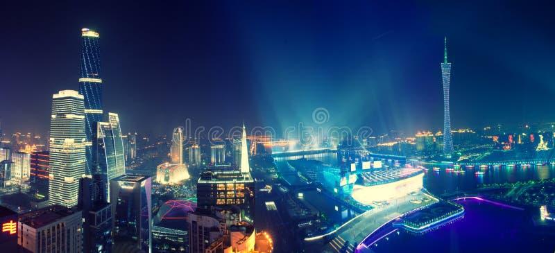 Взгляд ночи Гуанчжоу Китая стоковые фотографии rf