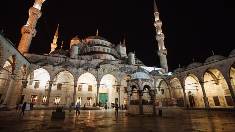 Взгляд ночи двора на голубой мечети, Стамбуле стоковое фото rf