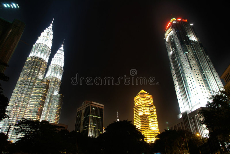 взгляд ночи Куала Лумпур города стоковое фото rf