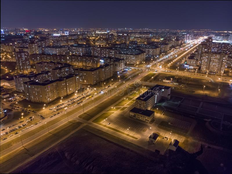 Взгляд ночи Минска, Беларуси стоковые фото