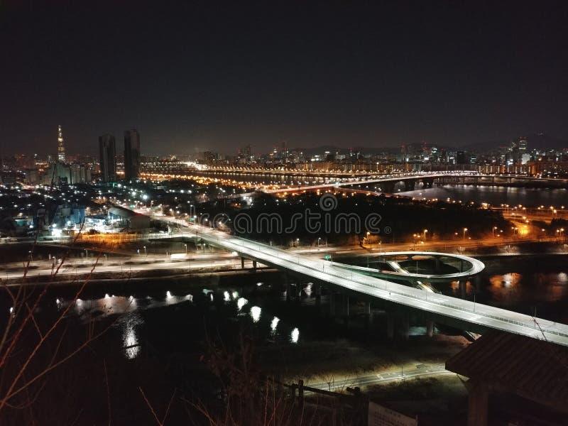 Взгляд ночи Пусана стоковые фото