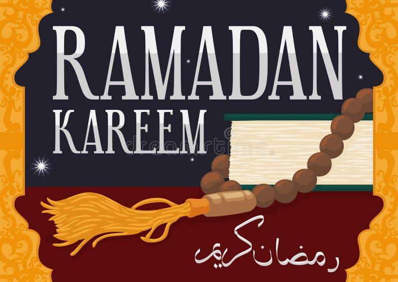Взгляд ночи Рамазана с книгой Корана и традиционным Masbaha, иллюстрацией вектора бесплатная иллюстрация