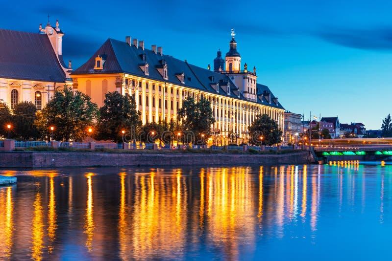 Взгляд ночи старого городка Wroclaw, Польши стоковые изображения rf