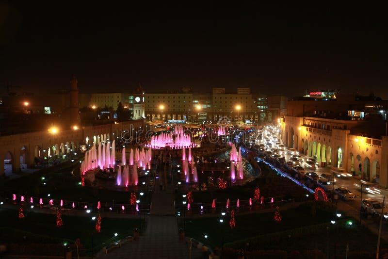 Взгляд ночи Erbil, Ирака стоковая фотография rf