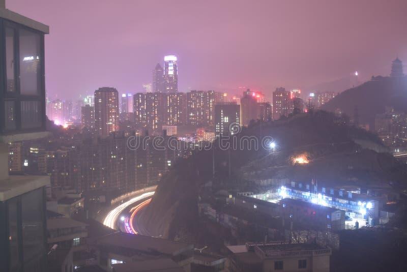 Взгляд ночи guiyang в зиме стоковые изображения rf