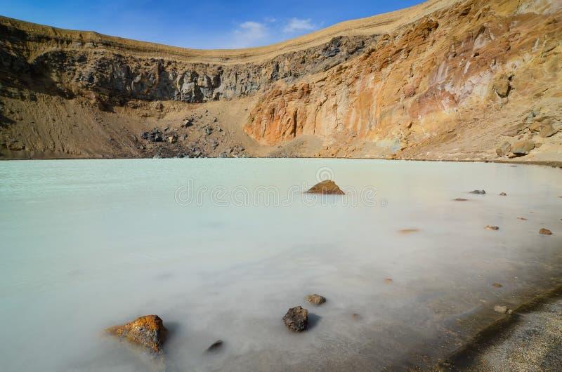 Взгляд озера на кратере Viti, Askja, Исландии стоковое фото