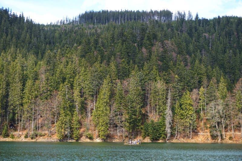 Взгляд озера Synevyr и окружающих гор Прикарпатские горы r стоковая фотография rf