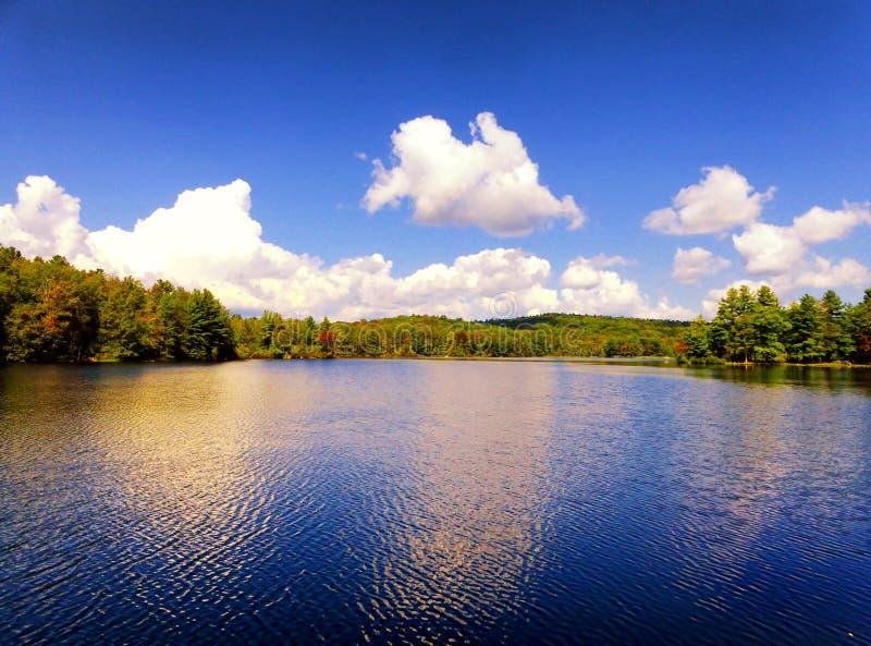 Взгляд осени парка штата пруда заусенца стоковые фотографии rf