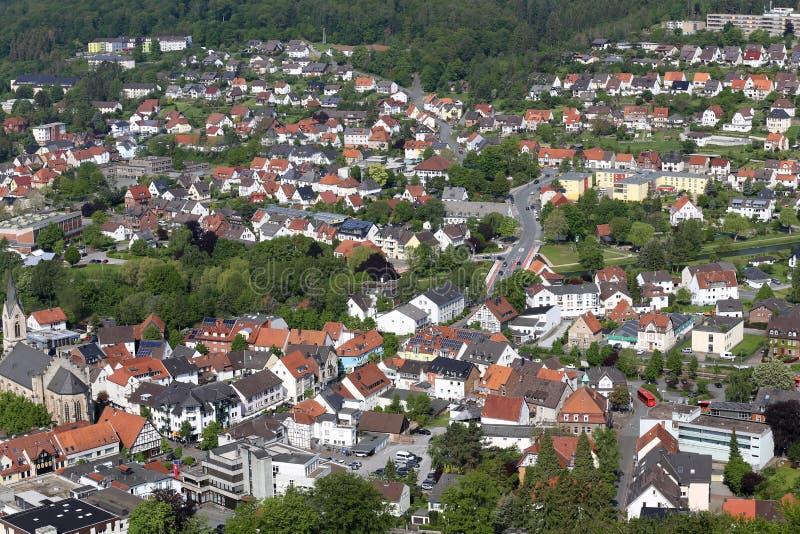 Взгляд от башни Bilstein к Marsberg, Германии стоковое изображение