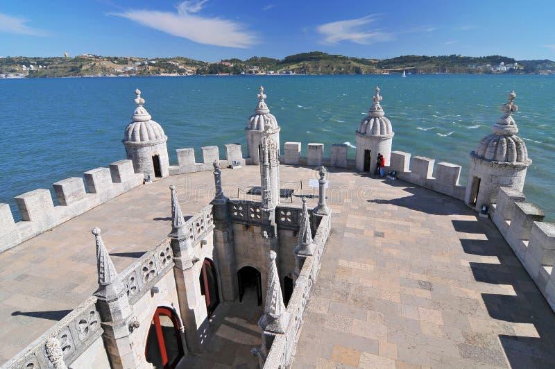 Взгляд от башни Torre de Belem Belem на Реке Tagus, Лиссабоне, Португалии стоковые изображения