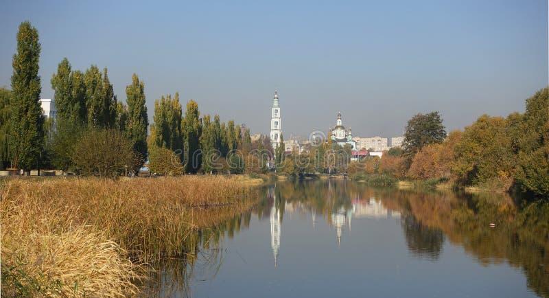 Взгляд от реки Tsna к городу Tambo стоковое фото rf
