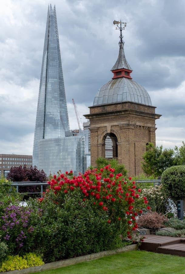 Взгляд от сада крыши моста карамболя, Лондона Великобритании Красный bottlebrush в фокусе в переднем плане Небоскреб черепка в мя стоковые изображения