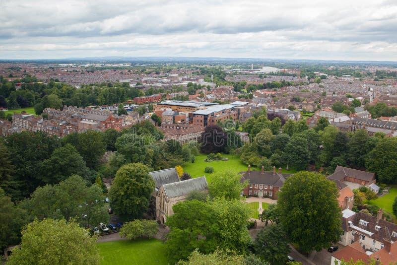Взгляд от собора монастырской церкви Йорка крыши, Великобритания стоковые изображения