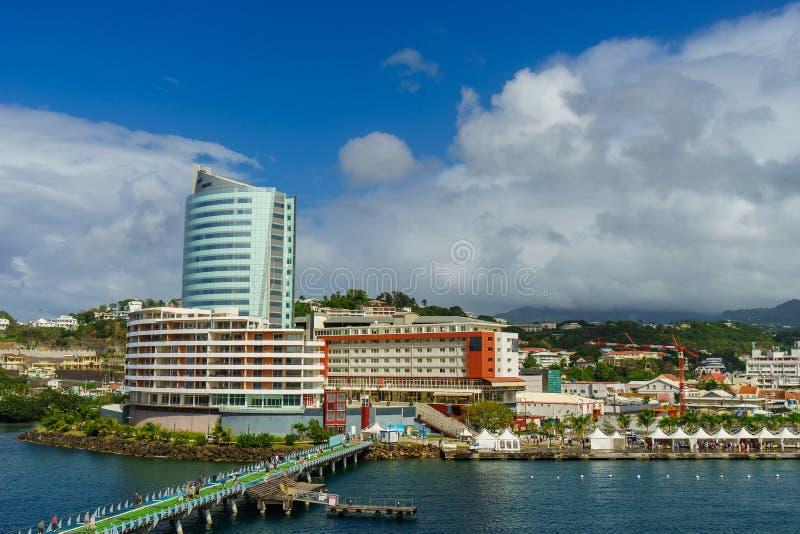 Взгляд от туристического судна порта Фор-де-Франс Мартиникы стоковое фото