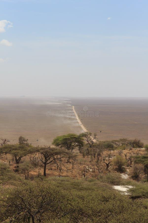 Взгляд от холма равнины Serengeti с пылевоздушным следом стоковые фото