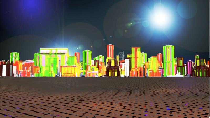 Взгляд от afar виртуальной метрополии бесплатная иллюстрация