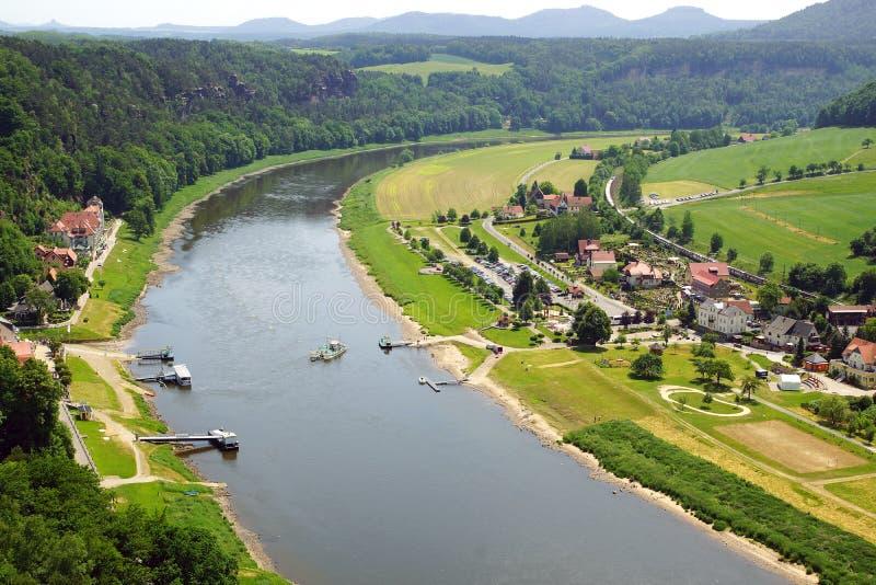 Взгляд от Bastei на реке Elbe, Германии стоковая фотография rf
