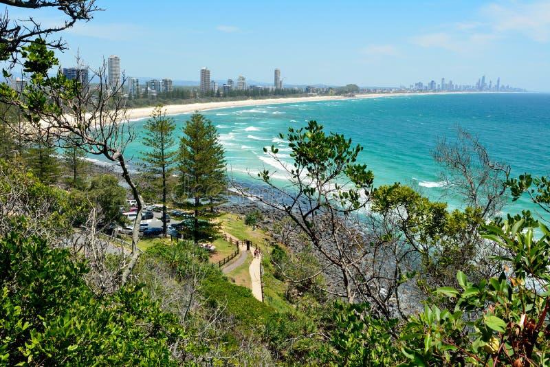 Взгляд от Burleigh возглавляет национальный парк на Gold Coast стоковое фото