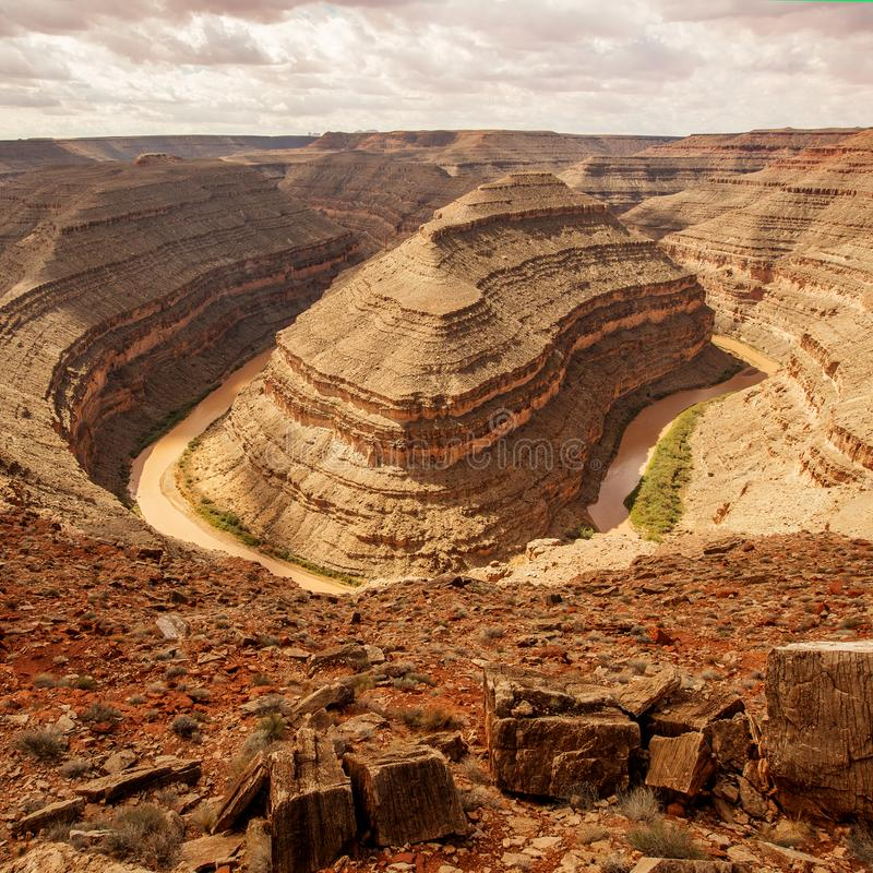 Взгляд от Goosenecks парка штата, Юты США стоковые изображения