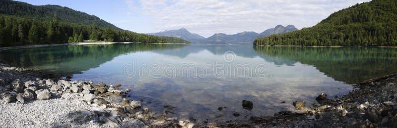 Взгляд панорамы к walchensee озера стоковая фотография