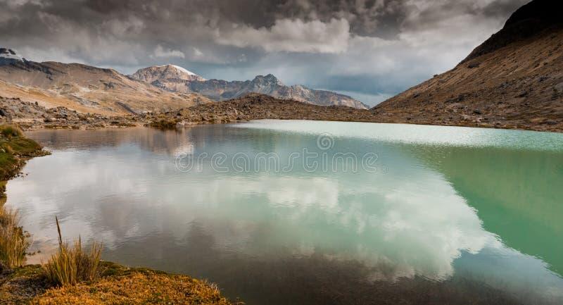 Взгляд панорамы озера и ландшафта горы в Андах Перу стоковая фотография