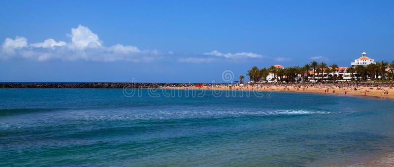 Взгляд панорамы пляжа Playa del Camison с водой бирюзы и желтым песком в Las Америках, Тенерифе, Канарских островах стоковая фотография rf