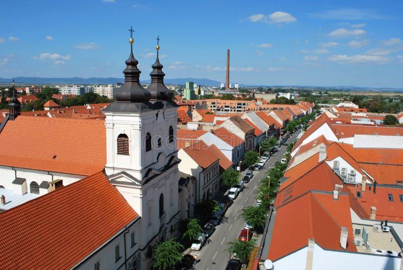 Взгляд панорамы центра Trnava исторического стоковое фото rf