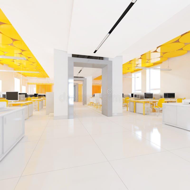 Взгляд перспективы интерьера офиса цвета с строкой белых таблиц перевод 3d иллюстрация штока
