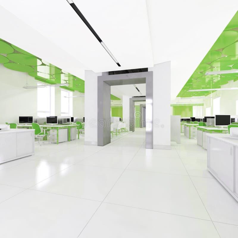 Взгляд перспективы интерьера офиса цвета с строкой белых таблиц перевод 3d бесплатная иллюстрация