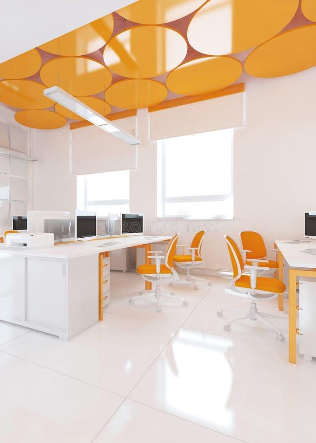 Взгляд перспективы интерьера офиса цвета с строкой белых таблиц перевод 3d иллюстрация вектора