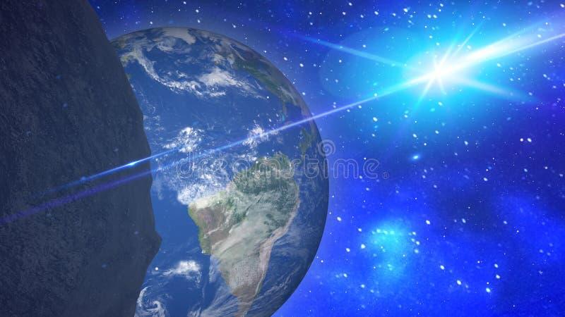 Взгляд планет от космоса во время метеорита Элементы этого изображения поставленные NASA иллюстрация штока