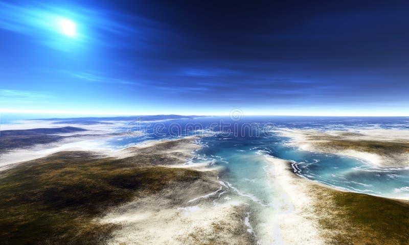 взгляд пляжа цифровой иллюстрация вектора