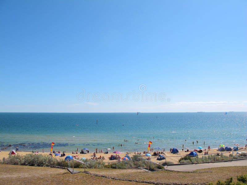 Взгляд пляжа Sandringham на Мельбурне, Австралии стоковое фото rf