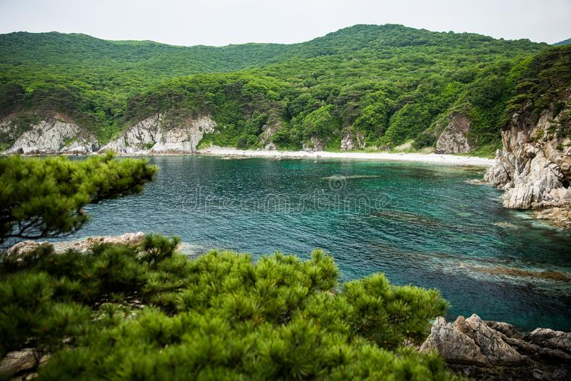 Взгляд побережья полуострова стоковое фото rf