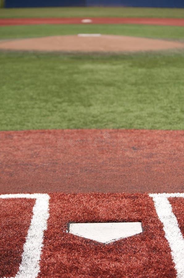 Взгляд поля бейсбола от домашней плиты стоковое фото
